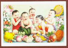1950's Chinese Children 兒童和水果 Children and Fruits Color Postcard Russian Edition