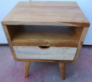 Bedside Table Teak Solid Wood Industrial CMS 50x40x60h With Drawer Vintage 70°