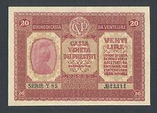 ITALY   20 Lire 1918 AU  PM7  CASSA VENETA - AUSTRIAN OCCUPATION  HIGH GRADE