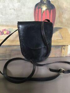 Vintage 1980s Little Black Leather Saddle Small Handbag #4715