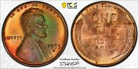 1955-D Lincoln Wheat Cent 1C PCGS MS65RB - Colorful Green Toning