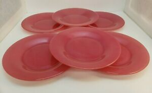 Six Dark Pink Glass Plates Textured Outside Approx. 8 Inches