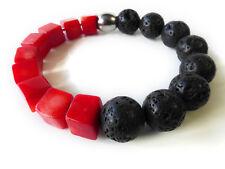 "A Sign ""Black Coral N°3"" Lava&Koralle Würfel Stretch-Armband Schwarz/Rot"