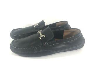 Clarks Mens Driving Loafer Shoes Black Moc Toe Horsebit Leather Slip On 8 M
