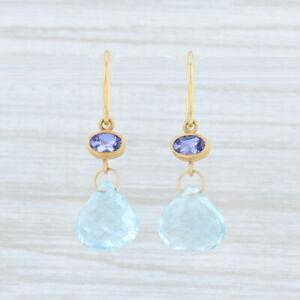 Mallary Marks Briolette Aquamarine Tanzanite Earrings 22k 18k Gold Blue Stone