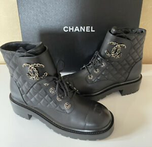 Auth NIB CHANEL CC Combat Boots Black Leather Quilted Shoes Brooch Gold Sz 38/ 8