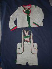 alte Puppenkleidung: großer handgestr. Trachenanzug mit Janker und kurzer Hose