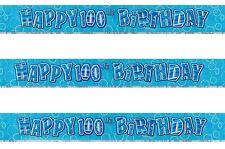 100th Birthday Banner Prismatic Shiny Blue Glitz banner AGE 100 Party Decoration