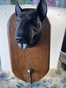 English Bull Terrier Bronze effect head lead hook wooden plaque Ex Cond