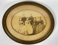 Old vintage Balck & White photograph Family Sisters In Original Oval Frame 9x11