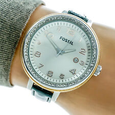 Fossil Bridgette Womans Watch AM4362 Big Silver Dial Leather Band Working 79507