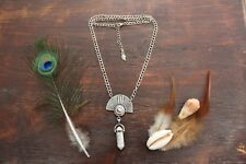 Lovely Handmade Silver Double Chain & White Howlite Silver Pendant Necklace