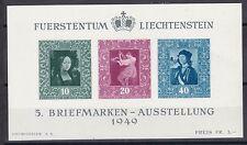 Liechtenstein 1949 postfrisch MiNr. Block 5  Briefmarkenausstellung  Vaduz