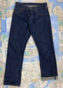 Left Field Jeans NYC Denim Selvedge Blue Ringspun Cotton 33 Button Fly USA Made