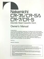 Nakamichi Model CR-7A/CR-5A Cassette Deck Owners Manual