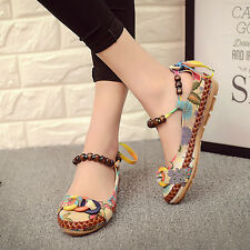 Women's Casual Loafer Shoes Embroidered Floral Beaded Ballet Elegant Art Flats