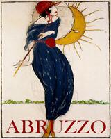 POSTER ABRUZZO ITALY SUMMER GIRL UMBRELLA SUN FASHION VINTAGE REPRO FREE S/H