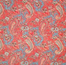 DESIGNERS GUILD Millbrook printed cotton blue red washable new remnant