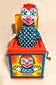 Vintage 1976 Mattel Jack In The Box Wind Up Musical Clown Toy