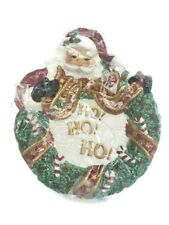 2002 Fitz and Floyd Essentials Santa Claus Face Wreath Canape Dessert Plate