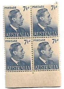 1951 KGV1 7½ d  Block of 4  Stamps MUH/MNH