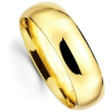 Mens Womens Solid 10K Yellow Gold Plain Wedding Band Comfort Fit 6.5MM size 13