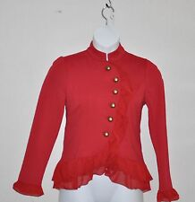 Hot in Hollywood Military Style Jacket With Ruffle Trim Size XL Ruby