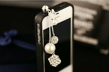 New Pearl Crystal 3.5mm Anti Dust Plug Cover Stopper Charm for iPhone 5 4/4s