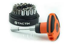 TACTIX 46pc Ratcheting Palm Screwdriver Socket Bit Set T-Handle SAE Metric Tool