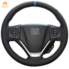 Black Genuine Leather Steering Wheel Cover Wrap for Honda CRV 2012-2015