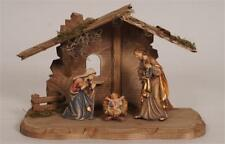 Kostner Nativity Set with Tyrol Stable - Painted Woodcarvings - 5 Pieces