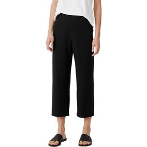 Eileen Fisher Pull On Pants Black Organic Cotton Blend Cropped Women Size Large