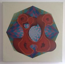 Lucio LOUBET (1927-1995) Rare HST 90x90cm toile 1970 Op-art Cinétique Vasarely