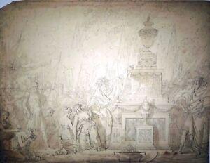 Zeichnung, Opferung der Iphigenia, Francois Roettiers attr., um 1720