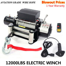 12000lbs 12V Electric Recovery Winch Truck SUV Durable Remote Control