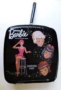 Vintage Mattel Miss Barbie Black Zip Carrying Case Hard to Find
