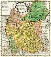 MAP ANTIQUE 18TH CENTURY SCHLEUEN DUCHY TESCHEN REPLICA POSTER PRINT PAM0389