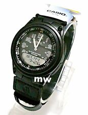 Casio Sport Black Dial World Time Ana/Digi Cloth Band Quartz Men Watch AW-80V-1B