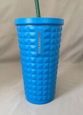 Starbucks Blue Studded Quilt Stainless Steel Cold Cup Tumbler 16 Oz 2015. NWT!