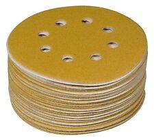 "POWERTEC 44206G-50 6"" 8 Hole 60 Grit Hook and Loop Sanding Discs, Gold, 50-PK"