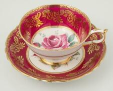 Paragon Cup & Saucer Bone China Cabbage Rose Deep Pink Gold Double Warrant