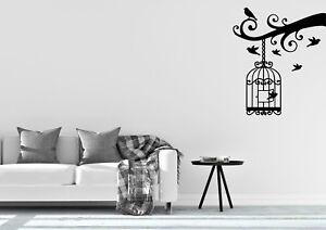 Bird Cage With Door Open Inspired Design Wall Art Decal Vinyl Sticker
