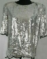 VTG Womens Sz Lg Short Sleeve Silver Silk Sequined Holiday Cocktail Party Top