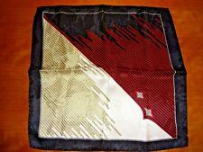 VTG Men's Silk Black w/Red & Gold Strip Made in Italy Pocket Square Handkerchief
