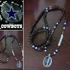 Cowboys Wooded bead nacklace and bracelet