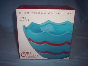 """Fitz and Floyd Gift Gallery """"Room Va Voom Wave"""" Small Turquoise Bowl ~NIB #2"""