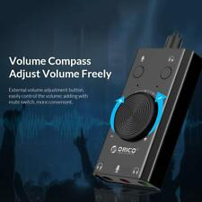 ORICO SC2 External USB Sound Card Volume Adjustable 3-Port Audio Card Adapter