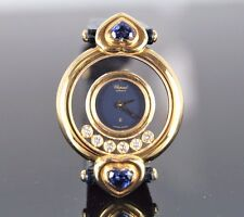 $22k Lady Chopard 18k Yellow Gold Royal Heart Blue Sapphire Happy Diamond Watch