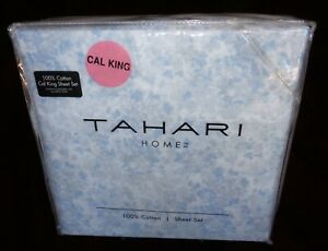 Tahari CAL California KING Sheet Set 100% Cotton Blue Watercolor Floral 4 PCS