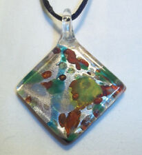Murano Glass Lampwork MULTI COLOR Pendant on BLACK Cord Necklace K-40
